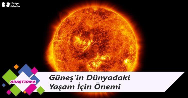 Güneş'in Dünyadaki Yaşam İçin Önemi
