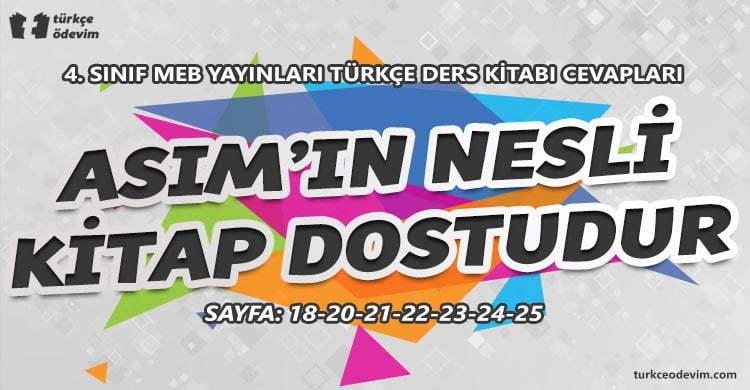 Asım'ın Nesli Kitap Dostudur Metni Cevapları - 4. Sınıf Türkçe MEB Yayınları