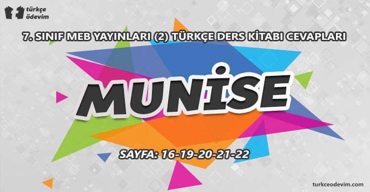 Munise Metni Cevapları - 7. Sınıf Türkçe MEB Yayınları (2)