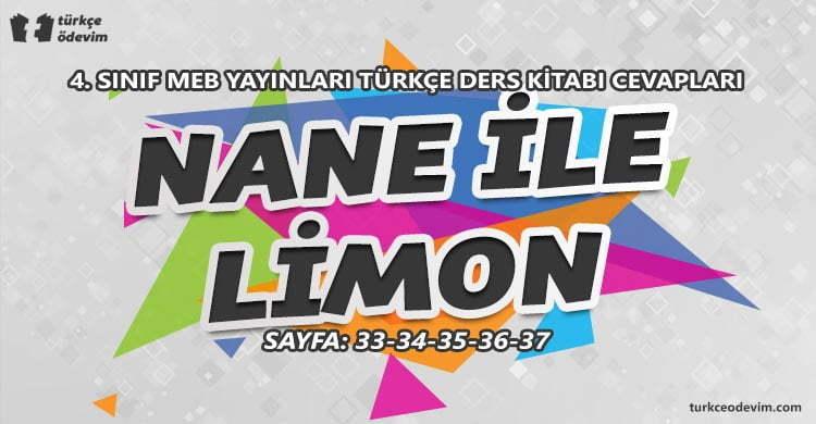 Nane ile Limon İzleme Metni Cevapları - 4. Sınıf Türkçe MEB Yayınları