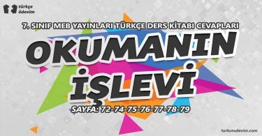 Okumanın İşlevi Metni Cevapları - 7. Sınıf Türkçe MEB Yayınları