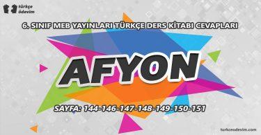 Afyon Metni Cevapları - 6. Sınıf Türkçe MEB Yayınları