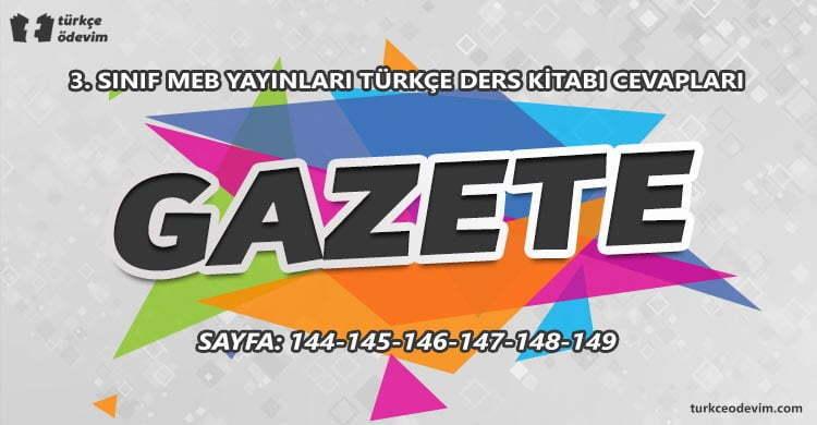 Gazete Metni Cevapları - 3. Sınıf Türkçe MEB Yayınları