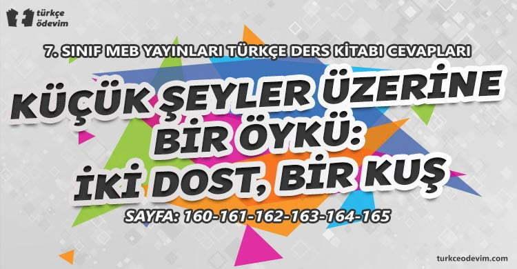 Küçük Şeyler Üzerine Bir Öykü İki Dost Bir Kuş Dinleme Metni Cevapları - 7. Sınıf Türkçe MEB Yayınları (1)