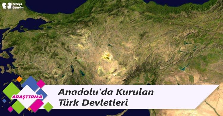 Anadolu'da kurulan Türk Devletleri