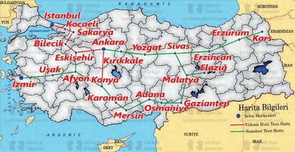 Kara Tren Dinleme Metni Cevapları - 6. Sınıf Türkçe MEB Yayınları - Demiryolları Haritası