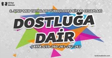 Dostluğa Dair Metni Cevapları - 6. Sınıf Türkçe MEB Yayınları