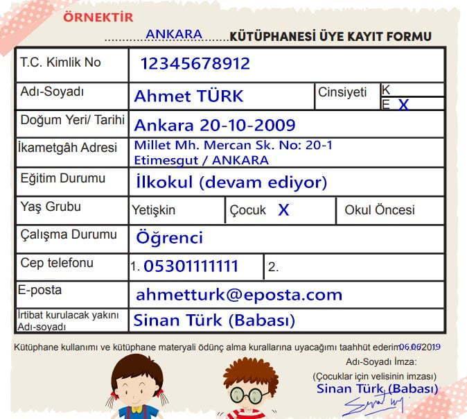 Geceyi Sevmeyen Çocuk Metni Cevapları - 3. Sınıf Türkçe MEB Yayınları - Kütüphane Kayıt Formu Örneği