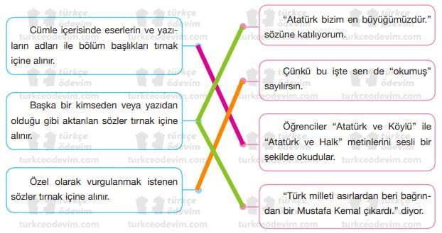 Atatürk ve Anıları Metni Cevapları - 7. Sınıf Türkçe Özgün Yayınları - Eşleştirme