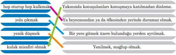 Bir Temmuz Gecesi Dinleme Metni Cevapları - 5. Sınıf Türkçe Anıttepe Yayıncılık - Eşleştirme