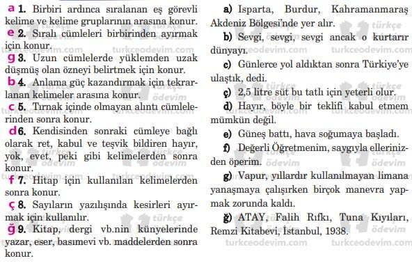 İlk Ders Dinleme Metni Cevapları - 5. Sınıf Türkçe Anıttepe Yayınları - Eşleştirme