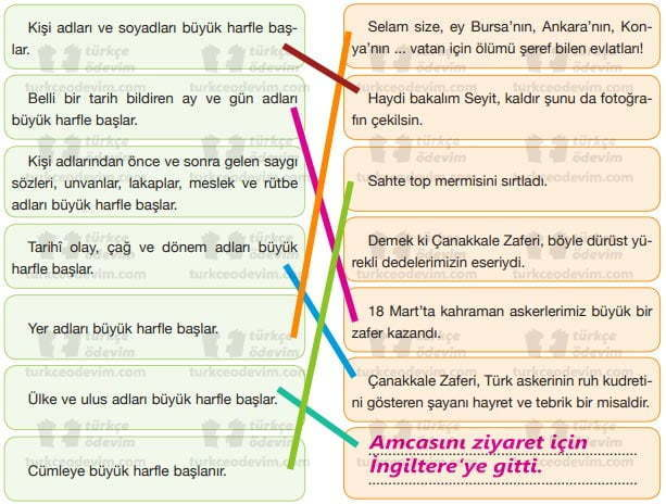 Koca Seyit Metni Cevapları - 7. Sınıf Türkçe Özgün Yayınları - Eşleştirme