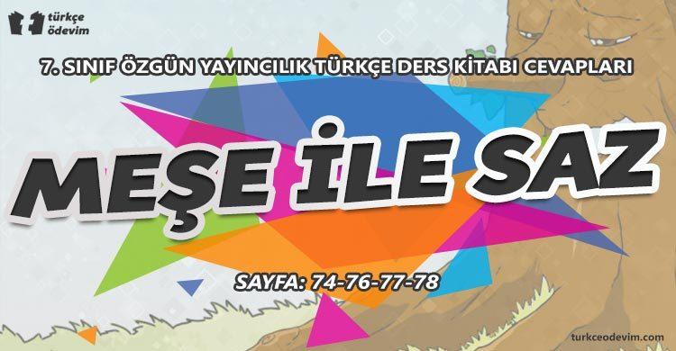Meşe ile Saz Metni Cevapları - 7. Sınıf Özgün Yayınları