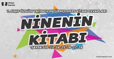Ninenin Kitabı Metni Cevapları - 7. Sınıf Türkçe Özgün Yayınları