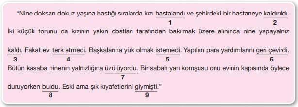 Ninenin Kitabı Metni Cevapları - 7. Sınıf Türkçe Özgün Yayınları - Fiiller