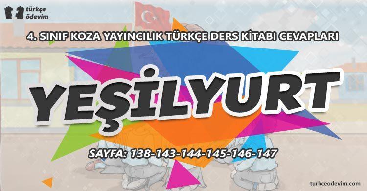 Yeşilyurt Metni Cevapları - 4. Sınıf Türkçe Koza Yayınları