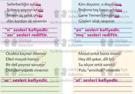 Nineme Ninni Metni Cevapları - Kafiye - Redif