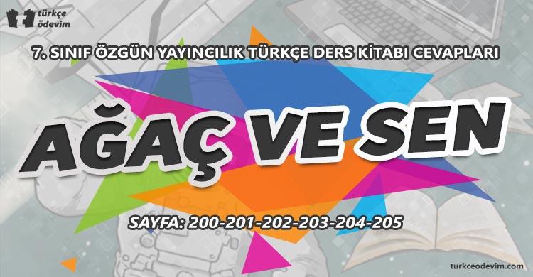 Ağaç ve Sen Metni Cevapları - 7. Sınıf Türkçe Özgün Yayınları