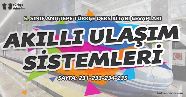 Akıllı Ulaşım Sistemleri Metni Cevapları - 5. Sınıf Türkçe Anıttepe Yayınları