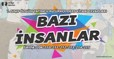 Bazı İnsanlar Metni Cevapları - 7. Sınıf Türkçe Özgün Yayınları
