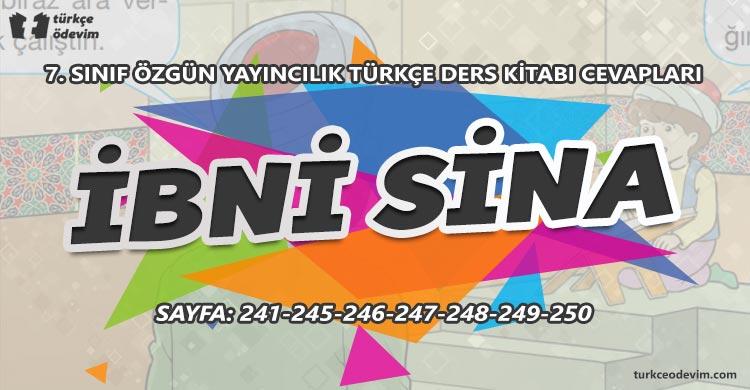 İbni Sina Metni Cevapları - 7. Sınıf Türkçe Özgün Yayınları
