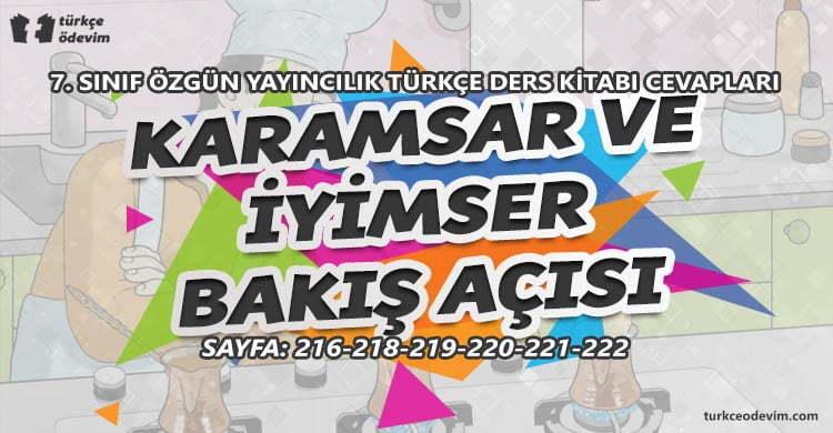 Karamsar ve İyimser Bakış Açısı Metni Cevapları - 7. Sınıf Türkçe Özgün Yayınları
