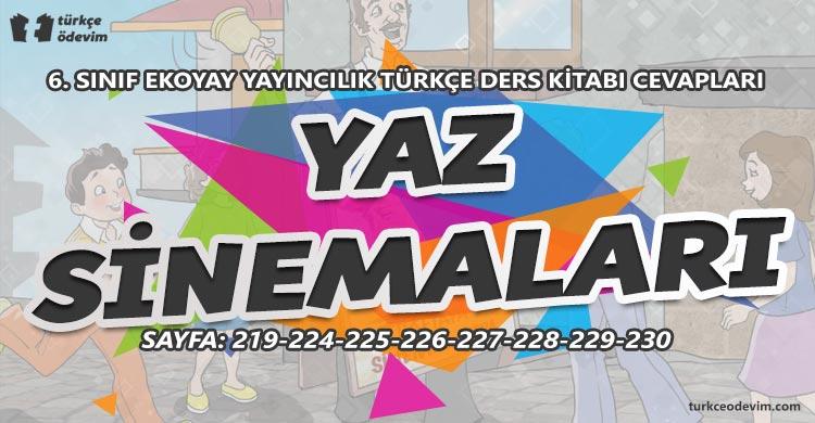 Yaz Sinemaları Metni Cevapları - 6. Sınıf Türkçe Ekoyay Yayınları
